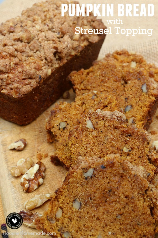 Oh Fall! How we love you! The Fall Baking is at it's best right now. Pumpkin - Apples - Cranberries - Caramel - Nuts and more! This Pumpkin Bread with Streusel Topping is a must bake!