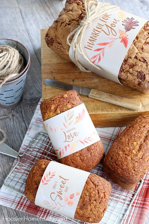 Pumpkin Bread wrapped for gifts