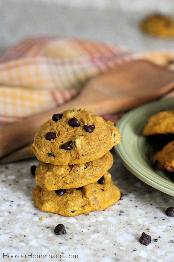 Pumpkin Chocolate Chip Cookies on plate