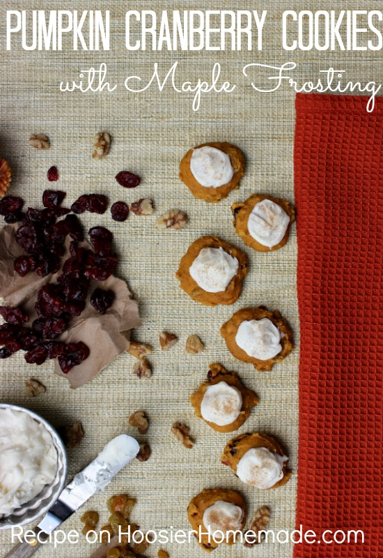 Pumpkin Cranberry Cookies with Maple Frosting :: Recipe on HoosierHomemade.com