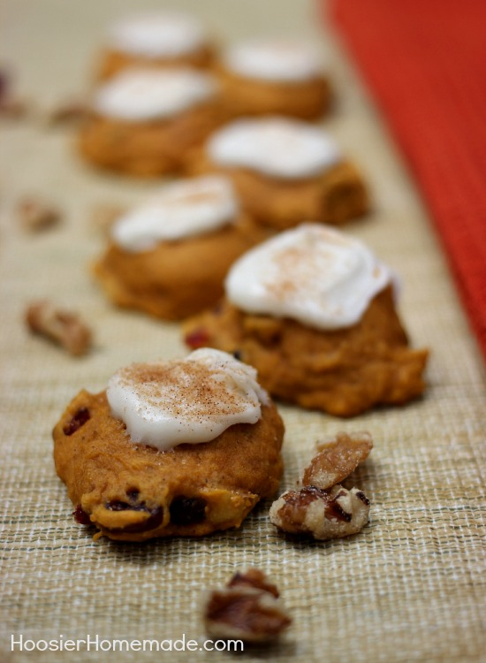 Pumpkin Cranberry Cookies with Maple Frosting