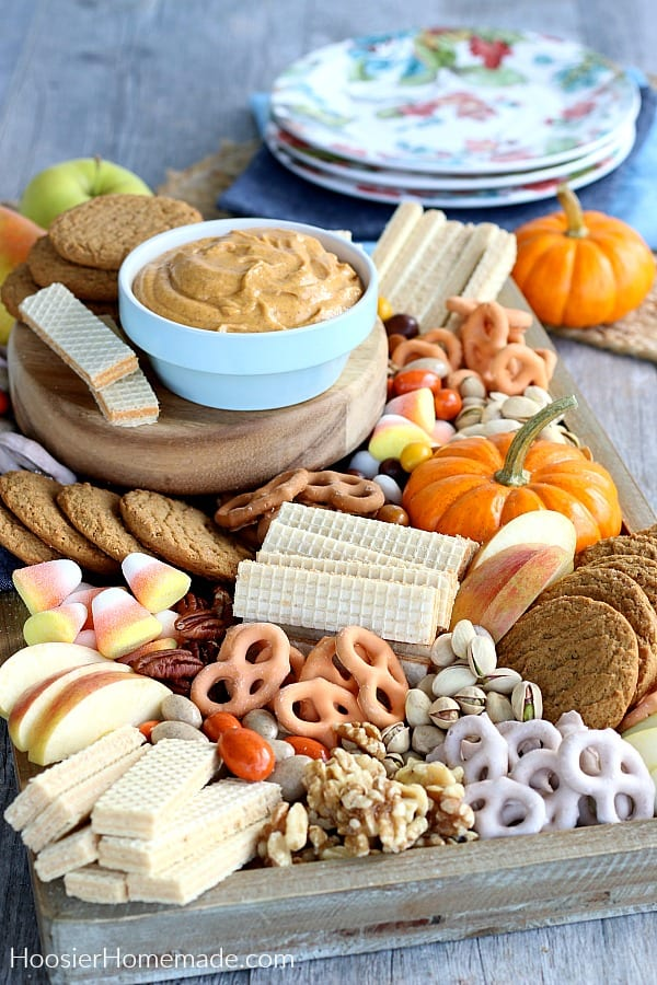 Pumpkin Dip in bowl with dessert tray