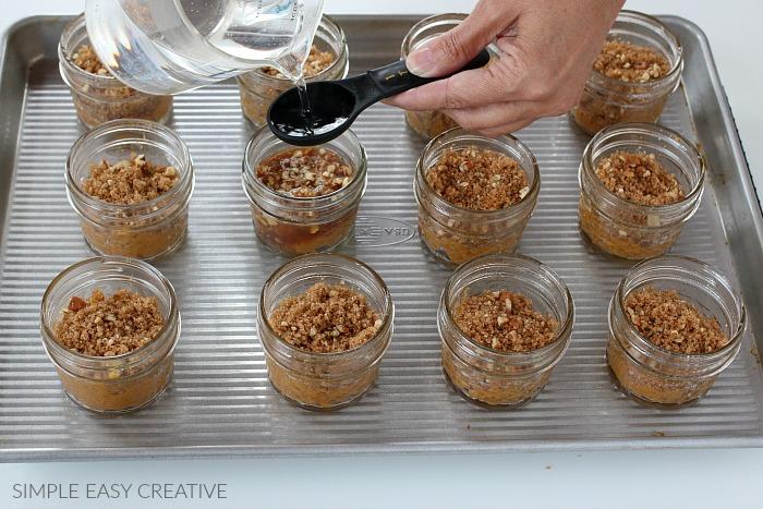 Add water to pumpkin cobbler