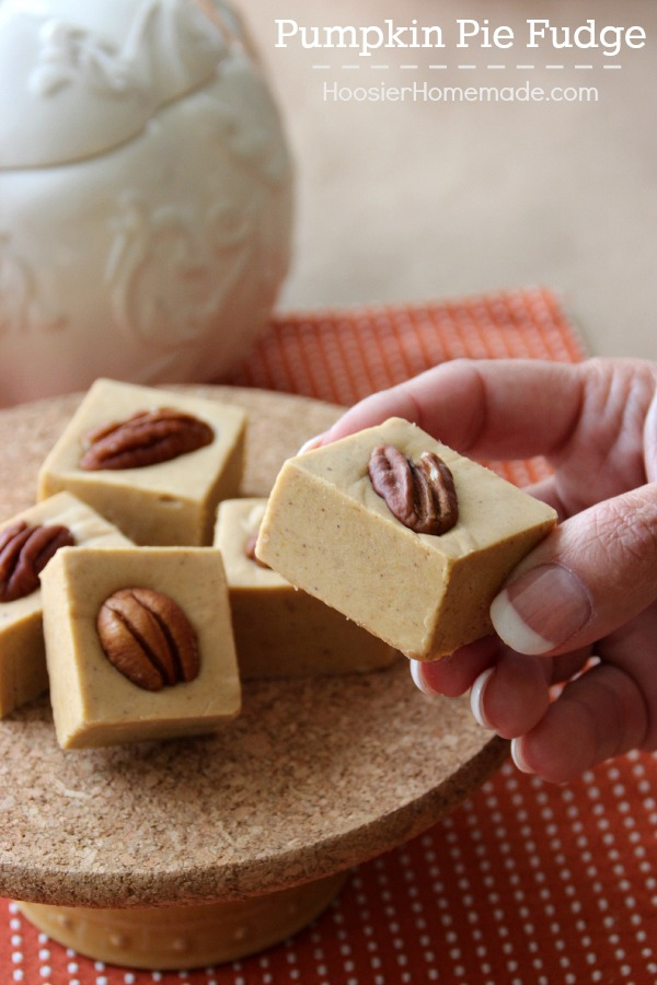 It's a match made in heaven! Pumpkin Pie + Fudge = the perfect holiday treat! This Pumpkin Pie Fudge melts in your mouth! Pin to your Holiday Recipe Board!