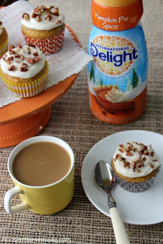 Pumpkin Pie Spice Cupcakes with Cream Cheese Frosting | Recipe on HoosierHomemade
