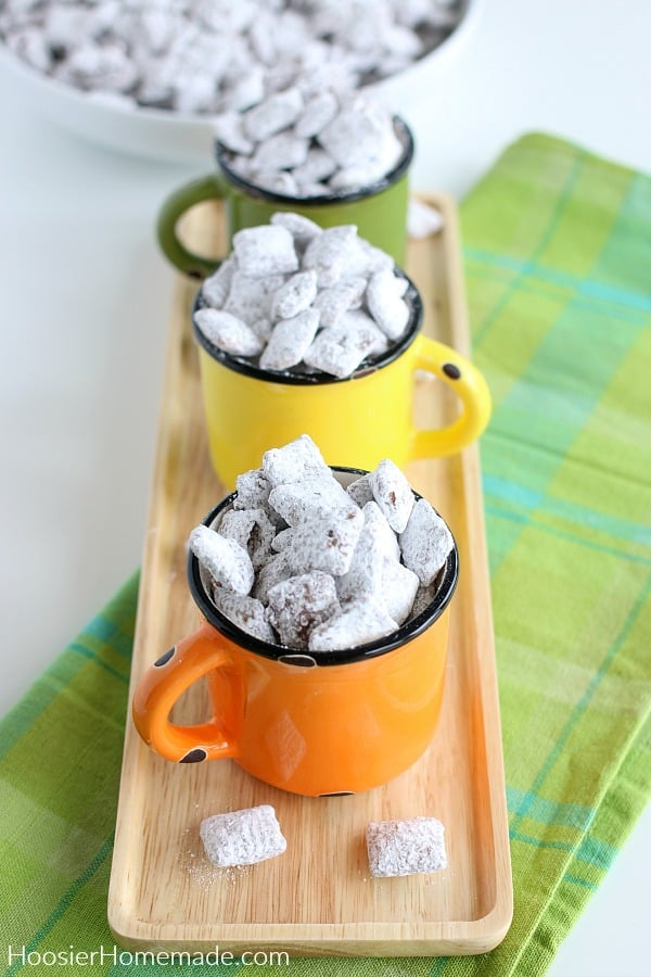 Puppy Chow Chex in cups