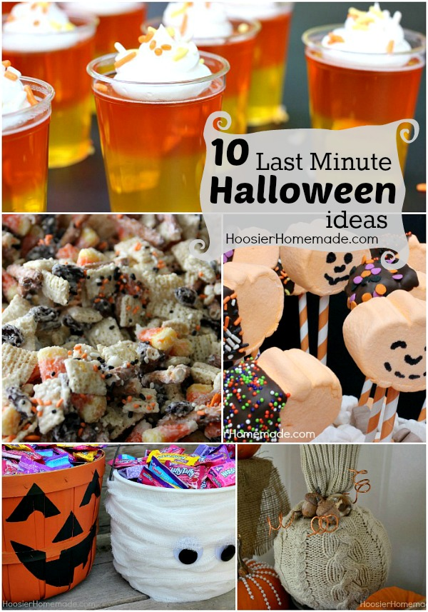 Short on time? Here are 10 Halloween Ideas including Halloween Recipes and Crafts, that can be made in about 15 minutes! Pin this to your Halloween Board!