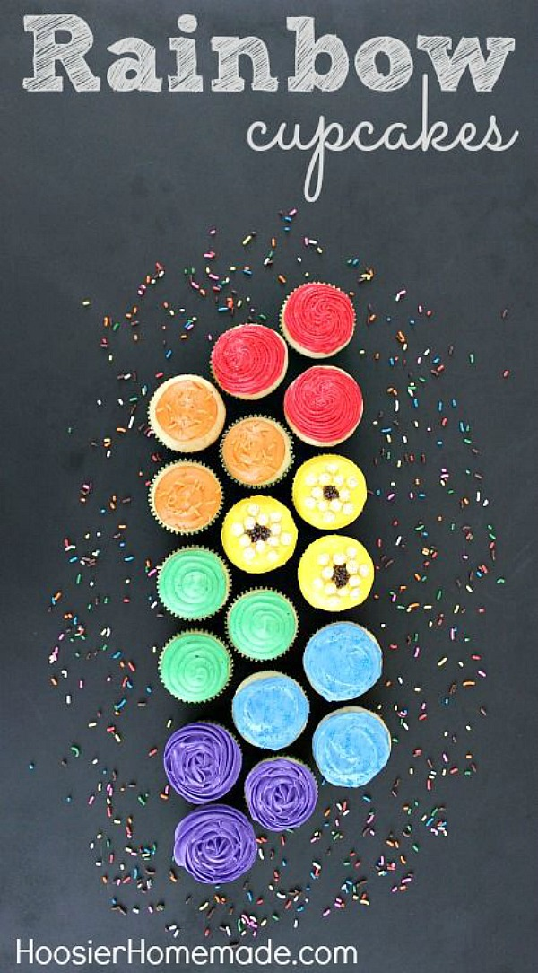 I LOVE these Rainbow Party Cupcakes! Use different techinigues to decorate each of the cupcakes with Red, Orange, Yellow, Green, Blue and Purple! Perfect for St. Patrick's Day Cupcakes or Birthday Party!