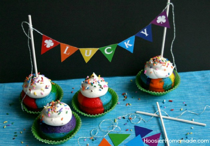 Rainbow Cupcakes with Printable Bunting