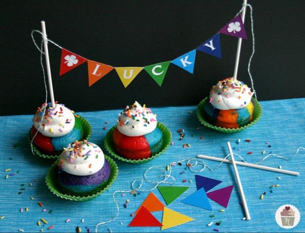Rainbow Cupcakes with Rainbow Bunting Printable :: HoosierHomemade.com