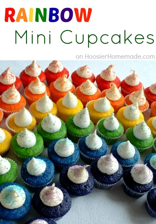 Mini rainbow cupcakes hoosier homemade for Creative cupcake recipes and decorating ideas