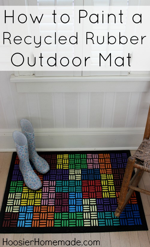 How to Paint a Recycled Rubber Outdoor Mat :: Instructions on HoosierHomemade.com