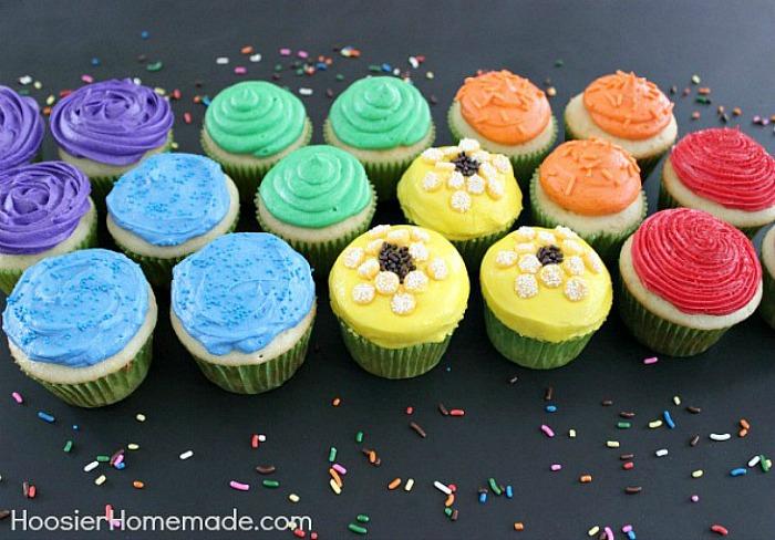 Decorated Rainbow Cupcakes