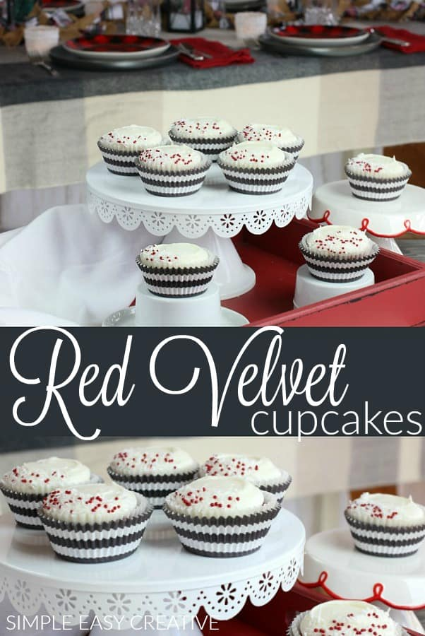 Red Velvet Cupcakes :: This easy Red Velvet Cupcake Recipe is perfect for the holidays! #redvelvetcupcakes #redvelvetcupcakerecipe