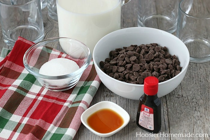 Ingredients to make Red Velvet Hot Chocolate