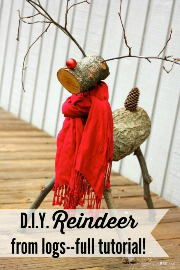This darling Reindeer is made from tree branches! Learn how to make your own! Visit our 100 Days of Homemade Holiday Inspiration for more recipes, decorating ideas, crafts, homemade gift ideas and much more!