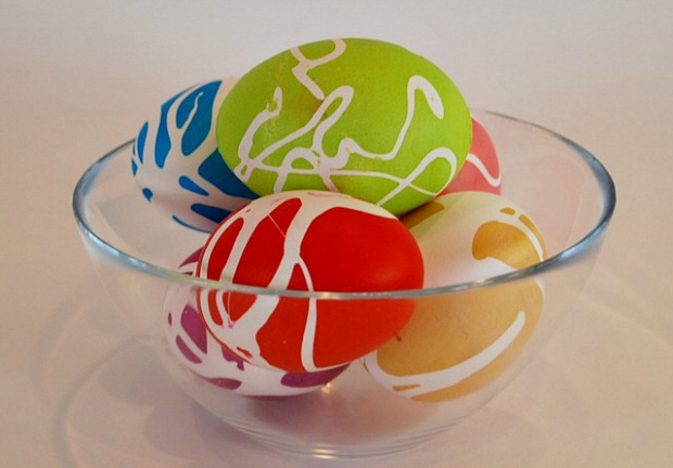 Rubber Cement Decorated Eggs