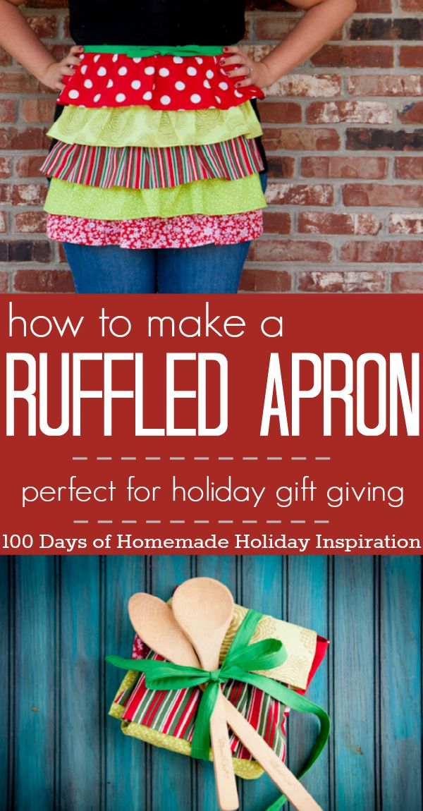 This adorable Ruffled Apron is perfect for your holiday gift giving or make one for yourself! Visit our 100 Days of Homemade Holiday Inspiration for more recipes, decorating ideas, crafts, homemade gift ideas and much more!