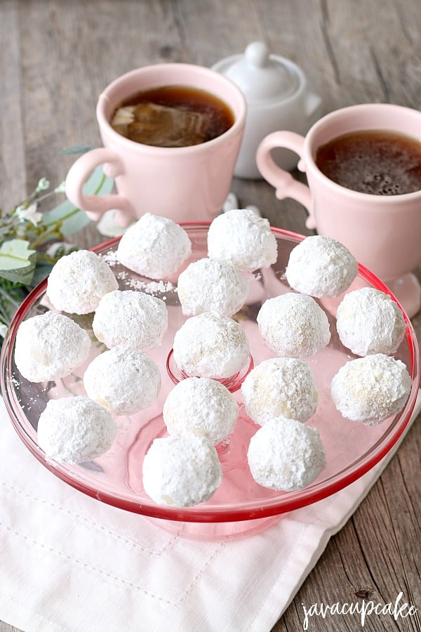 Russian Tea Cakes on pink cake stand