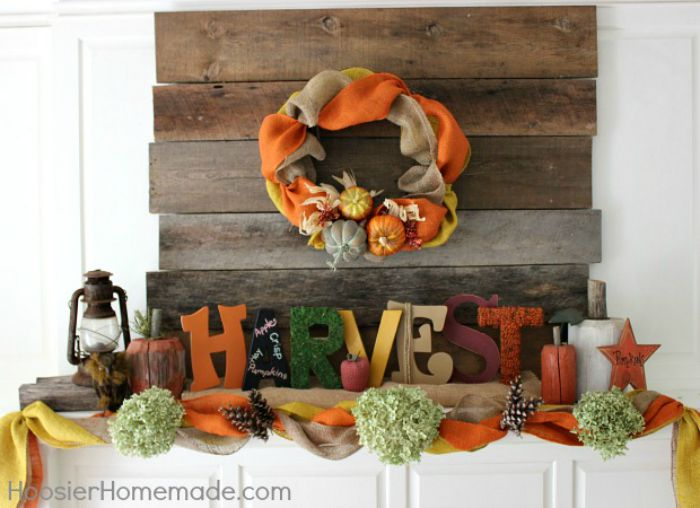 Create a show-stopping Fall Decoration with just a few supplies! Learn how to decorate this Fall Mantel with the step-by-step photos. Click on the Photo for all the details!