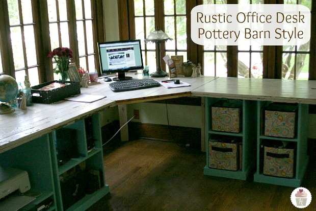 Rustic Office Desk Pottery Barn Style on HoosierHomemade.com