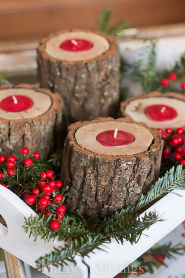 Homemade Gift Ideas And Much More Make These Rustic Wood Candle Holders Gorgeous On Your Coffee Table Buffet Or Give