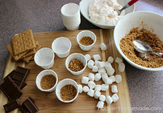 No Bake Mini S'Mores Cheesecake :: Recipe on HoosierHomemade.com
