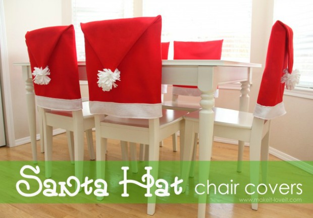 Make These Adorable Santa Hat Chair Covers For Your Christmas Table Or Give  As A Gift