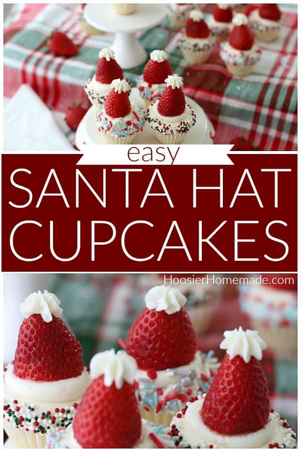 Santa Hat Christmas Cupcakes