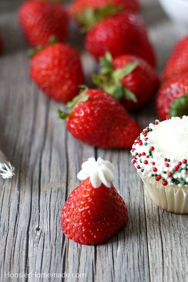 Strawberry made into Santa Hat