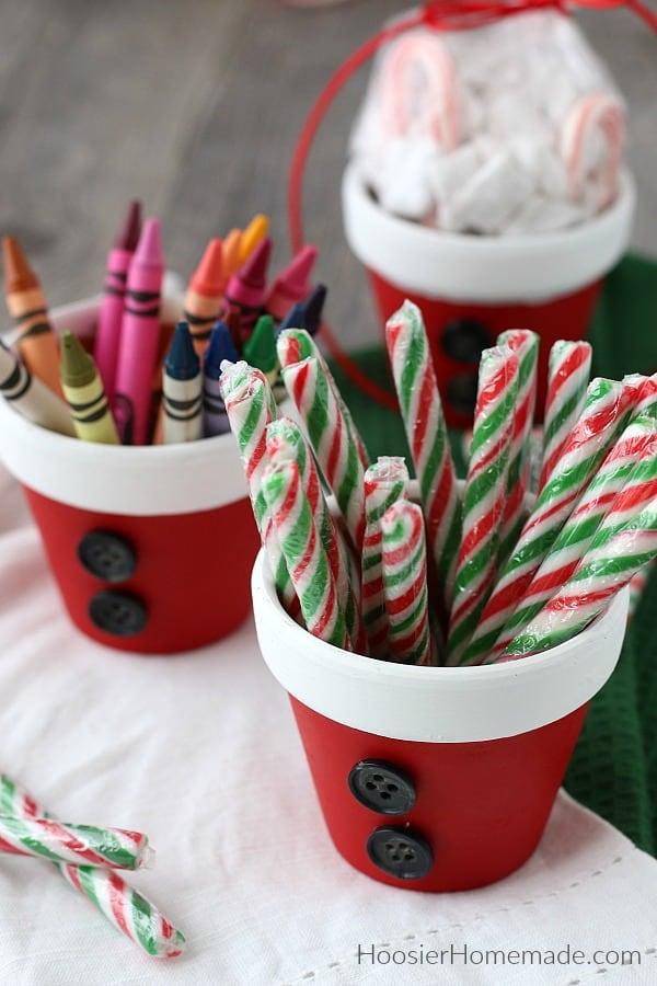 Simple Christmas Craft Terra Cotta Pots painted like Santa