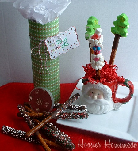 Chocolate Santa Pretzel Rods