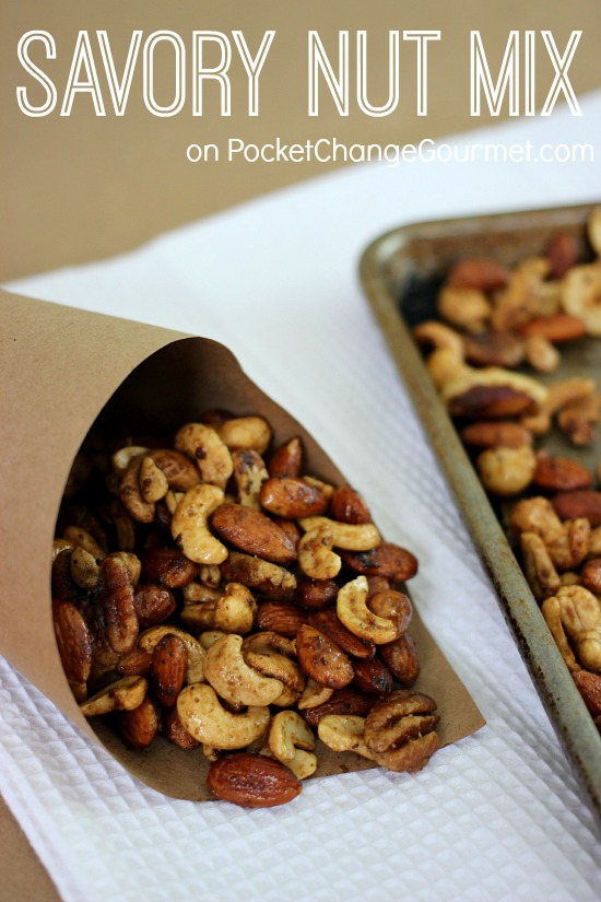 Savory Nut Mix | Recipe on PocketChangeGourmet.com