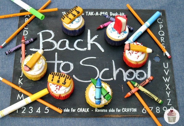 Back to School Cupcakes with Supplies made from Candy Clay :: Recipe on HoosierHomemade.com