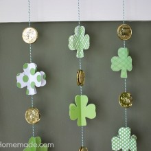 How to Make a Paper Shamrock Garland | Instructions on HoosierHomemade.com