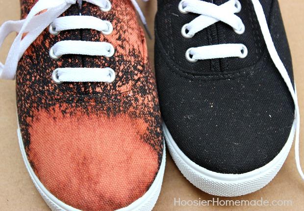 DIY Bleached Shoes :: Instructions on HoosierHomemade.com