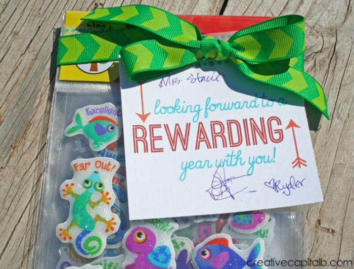 Simple Teacher Gift for back to school- printable tag to tie on some cute reward stickers!