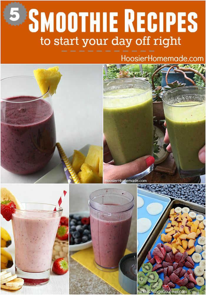 5 Smoothie Recipes - Get your day started off right! Green Smoothie Recipe, Fruit Smoothie, Strawberry Smoothie, Protein Smoothie and even Make Ahead Smoothies! Click on the Photo for the Recipes!