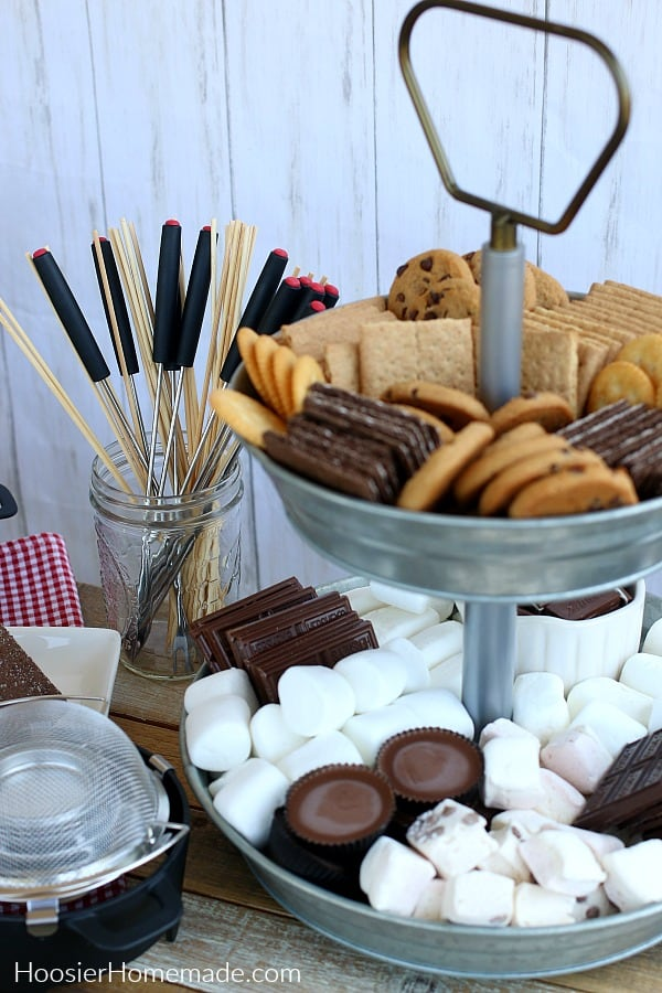 Tray with S'mores Bar ingredients