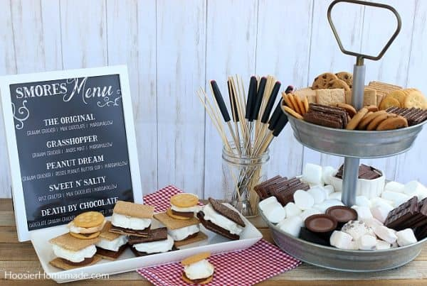 S'mores Bar on table with menu