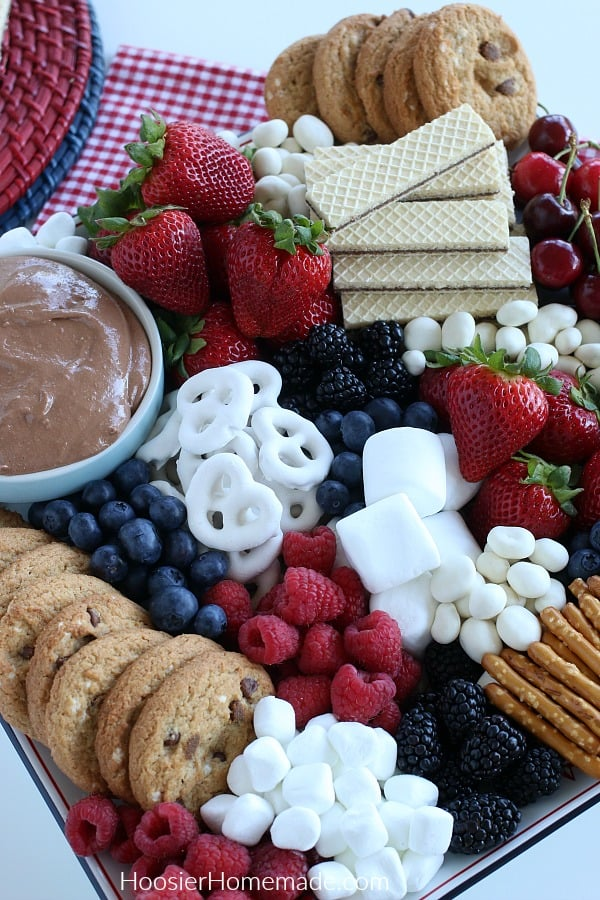 S'mores Dip on plate with fruit