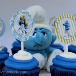 Smurfs Cupcakes with cute Cupcake Toppers:: Recipe on HoosierHomemade.com