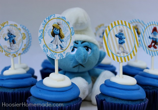 Smurfs Cupcakes with cute Cupcake Toppers:: Recipe on HoosierHomemade.com