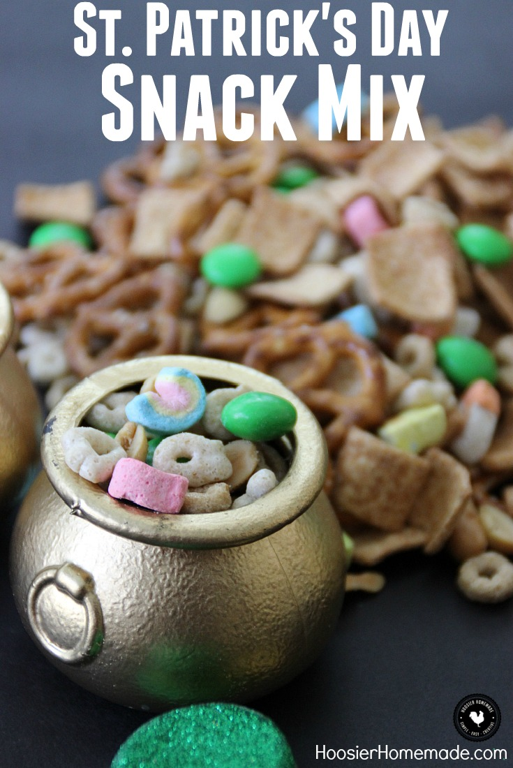 This Snack Mix for St. Patrick's Day makes the perfect little gift! Add a FREE St. Patrick's Day Printable Tag! Simple ingredients for this fun snack that kids of all ages will love!