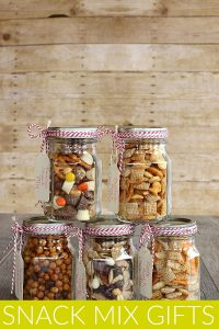 Snack Mix in jars for gifts
