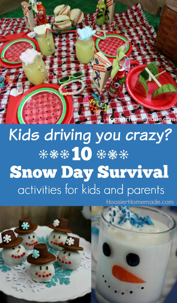 Stuck inside? Kids driving you crazy? Use our Snow Day Survivial Guide to help pass those long Winter days! Pin to your DIY Board!