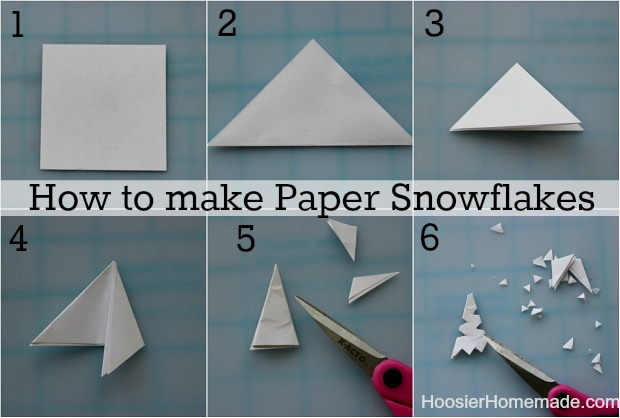 Unfold the paper completely and cut along the last crease you made. You'll end up with a long, thin rectangle (which you can throw away) and a perfect square (which will soon become a beautiful snowflake).
