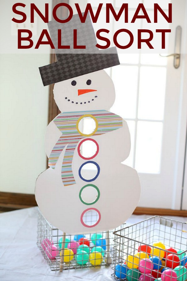 SNOWMAN BALL SORT -- This fun game will keep the little ones occupied for a long time! AND teach them their colors too! 100 Days of Homemade Holiday Inspiration