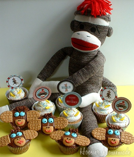 Sock Monkey Birthday Cupcakes