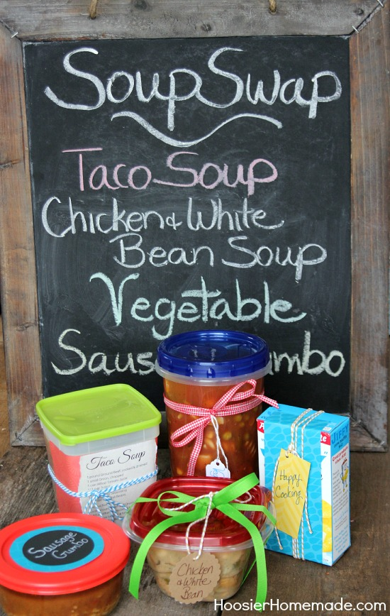 Gather your friends and host a Soup Swap! Everyone brings a freezer friendly soup and shares! Recipes included! Pin to your Party Board!